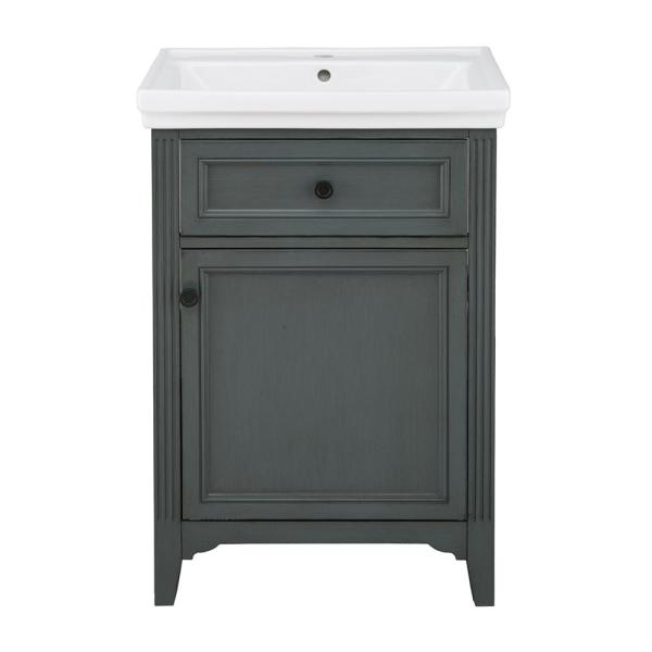 Castleford 24 in. W x 20 in. D Vanity in Charcoal Grey with Vitreous China Vanity Top in White with White Sink