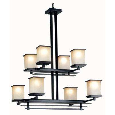 Plateau 8-Light Oil Rubbed Bronze Chandelier with Amber Glass Shade