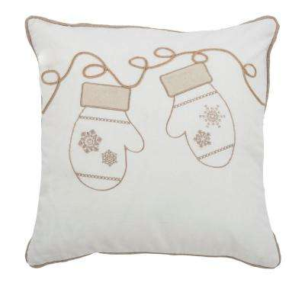 20 in. x 20 in. Winter Mittens Cream Decorative Pillow