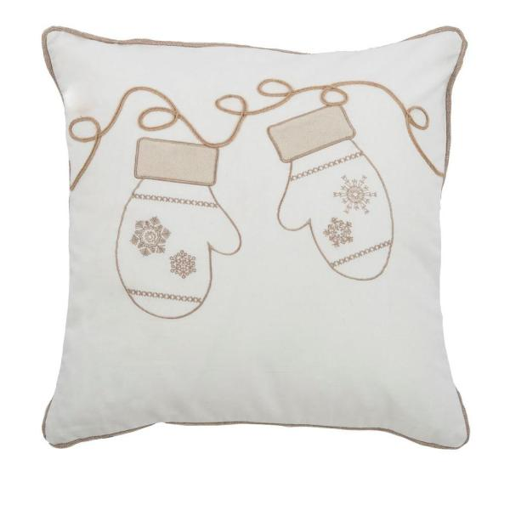 Rizzy Home 20 in. x 20 in. Winter Mittens Cream Decorative
