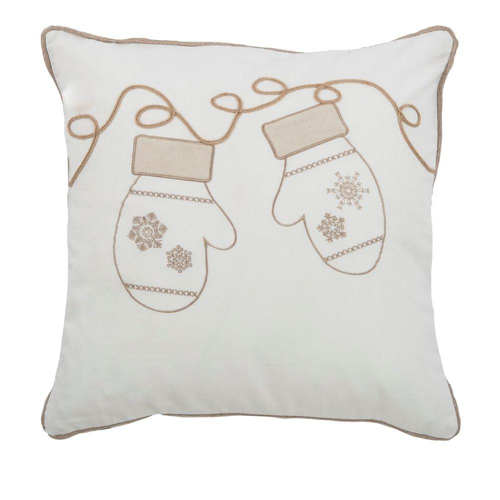20 in. x 20 in. Winter Mittens Cream Decorative Pillow