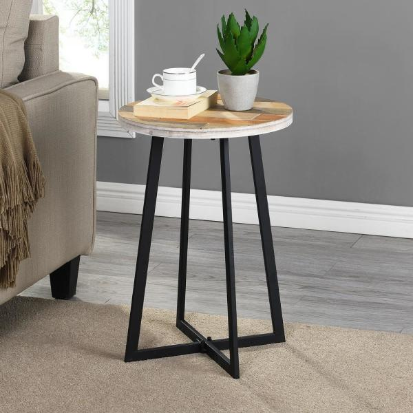 22 in. Miller Weathered Tan Rustic Wood Table