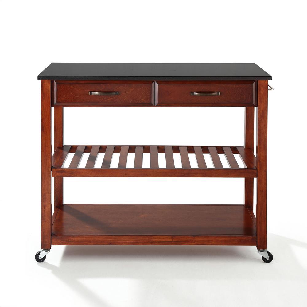 Crosley Cherry Kitchen Cart With Black Granite Top KF30054CH