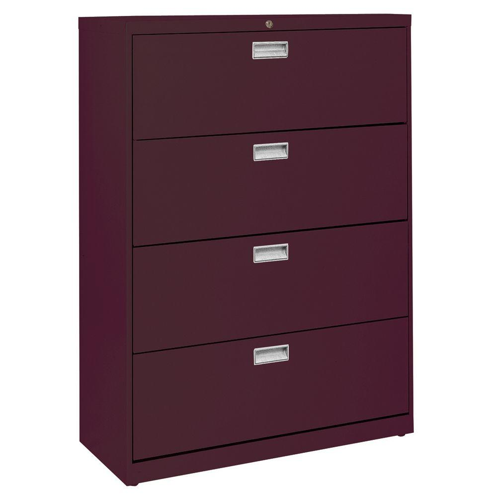 600 Series 36 in. W 4-Drawer Lateral File Cabinet in Burgundy