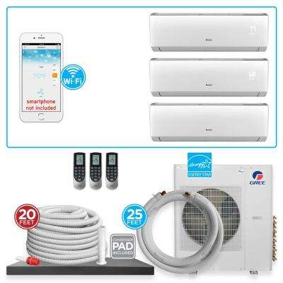 Multi-21 Triple Zone 33438 BTU Wi-Fi Ductless Mini Split Air Conditioner & Heat Pump with 25 ft. Install Kit-230V/60Hz