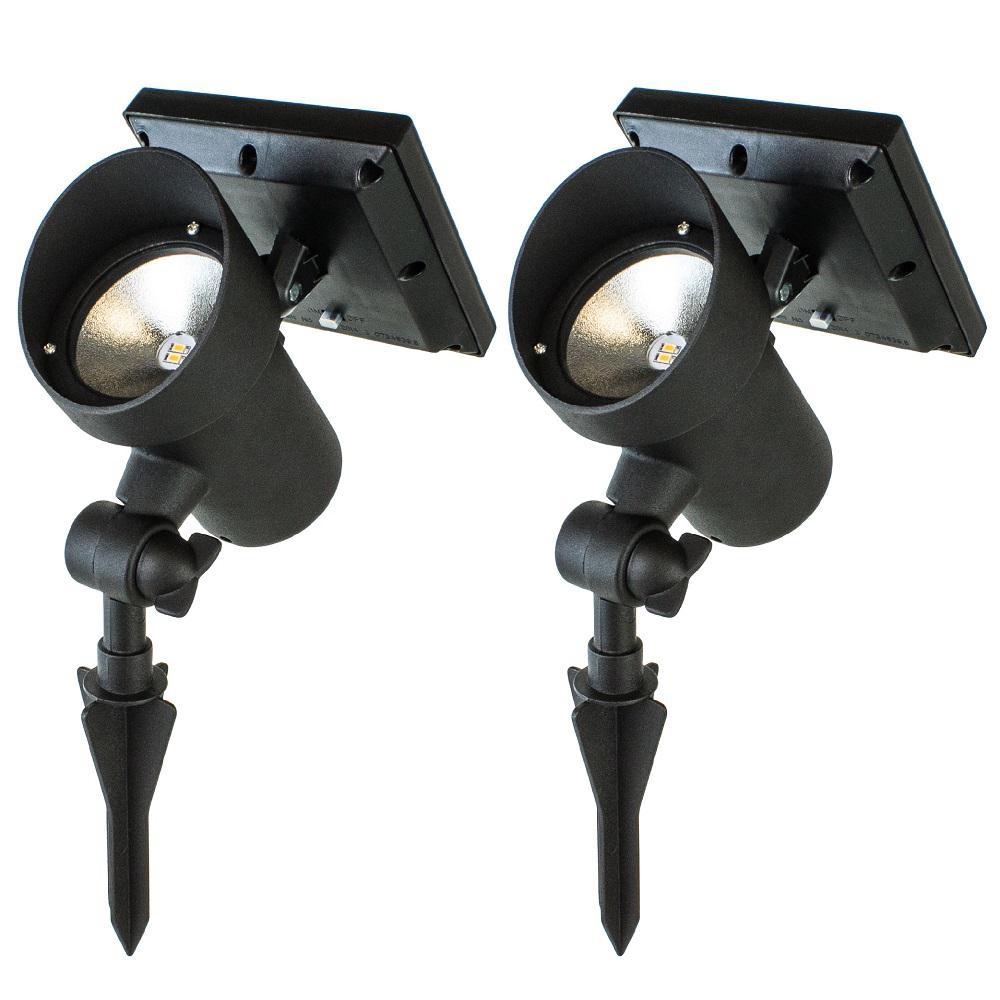 High Lumen Metal Solar Black Outdoor Integrated LED Landscape Spot Light (2-Pack)