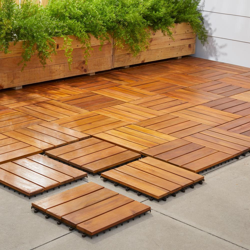Vifah Roch 4 Slat 12 In X 12 In Wood Outdoor Balcony Deck Tile