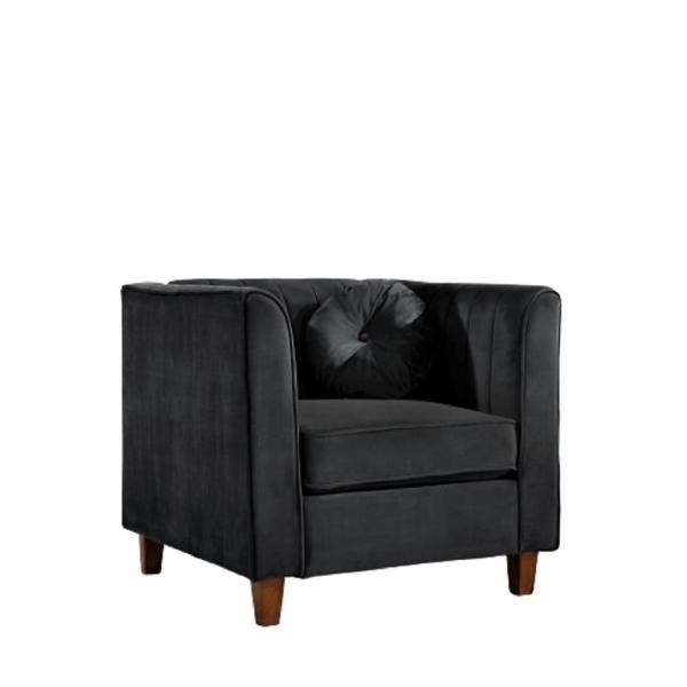 Lowery Velvet Kitts Classic Black Chesterfield Chair