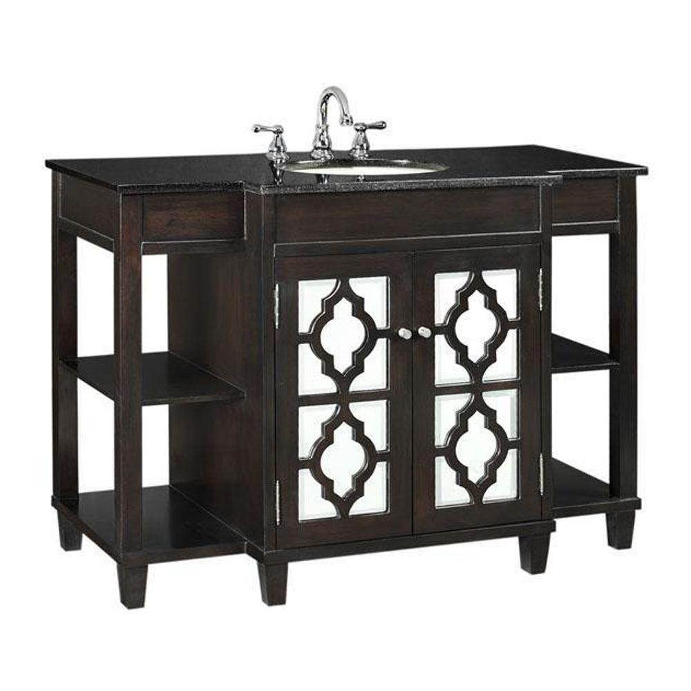Home Decorators Collection Reflections 48 in. W x 35 in. H Vanity in Espresso with Granite Vanity Top in Black with White Basin