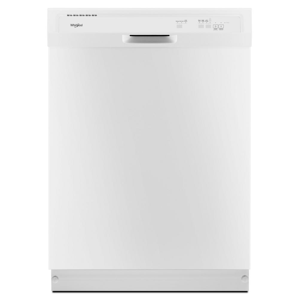Whirlpool 24 in. Front Control Built-In Tall Tub Dishwasher in White with 1-Hour Wash Cycle