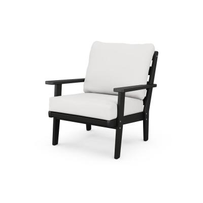 Grant Park Black Deep Seating Plastic Outdoor Lounge Chair with White Cushions