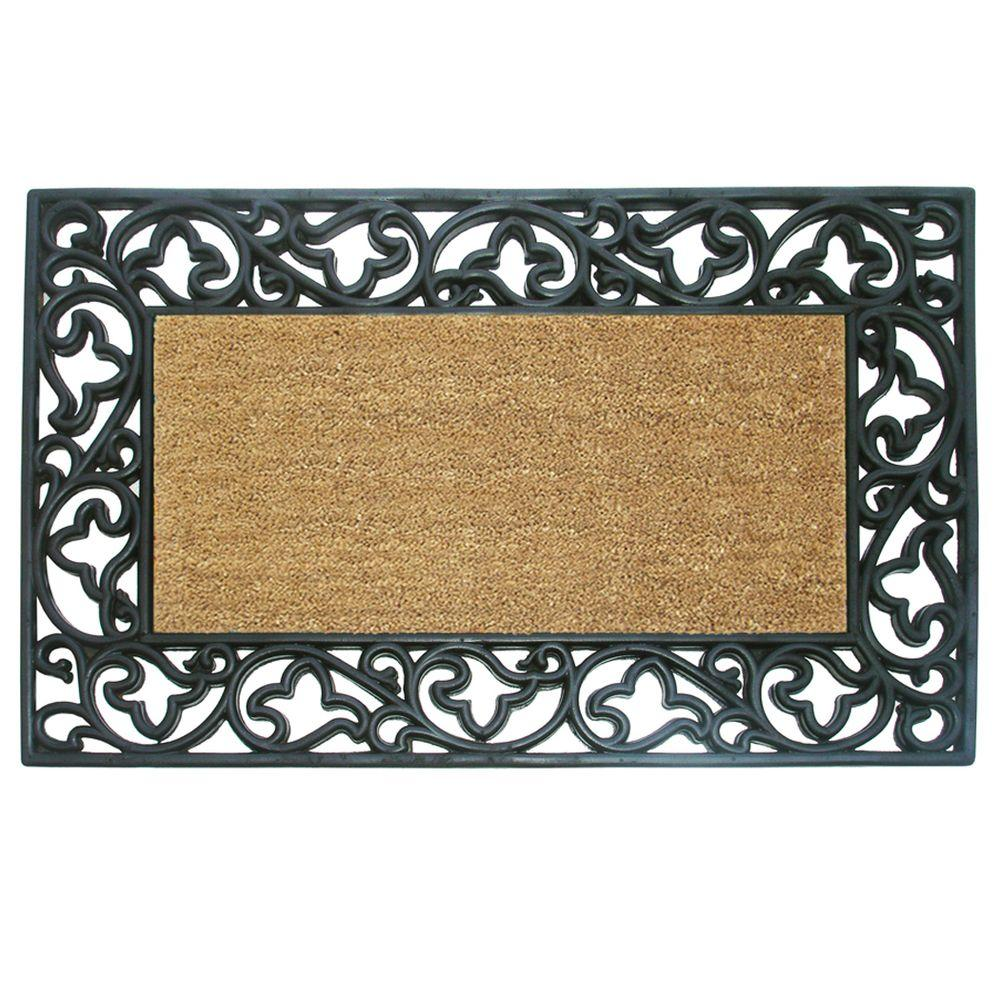 Nedia Home Wrought Iron With Coir Insert And Acanthus Border 22 In. X 36 In