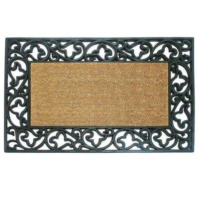 Wrought Iron with Coir Insert and Acanthus Border 22 in. x 36 in. Rubber Coir Door Mat