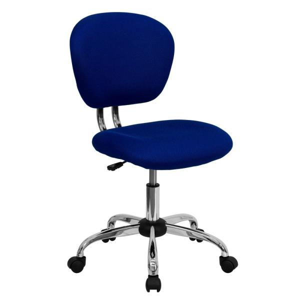 Flash Furniture Mid-Back Blue Mesh Swivel Task Chair with Chrome Base