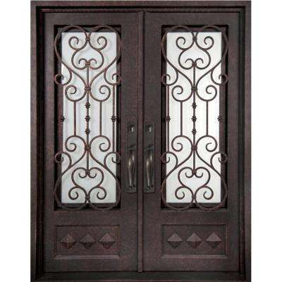 62 in. x 81.5 in. Vita Francese Classic 3/4 Lite Painted Oil Rubbed Bronze Wrought Iron Prehung Front Door