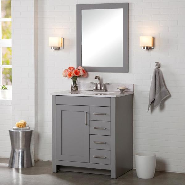 Home Decorators Collection Westcourt 37 In W X 22 In D Bath Vanity In Sterling Gray With Stone Effect Vanity Top In Pulsar With White Sink Wt36p2v3 St The Home Depot