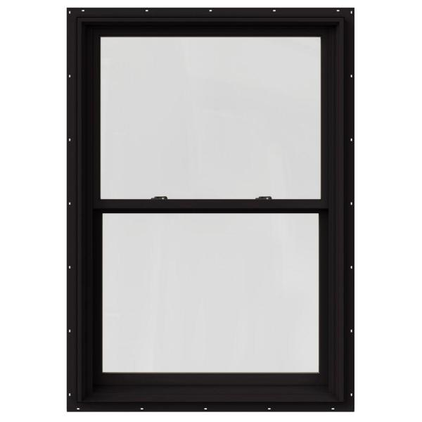 33.375 in. x 60 in. W-2500 Series Black Painted Clad Wood Double Hung Window w/ Natural Interior and Screen