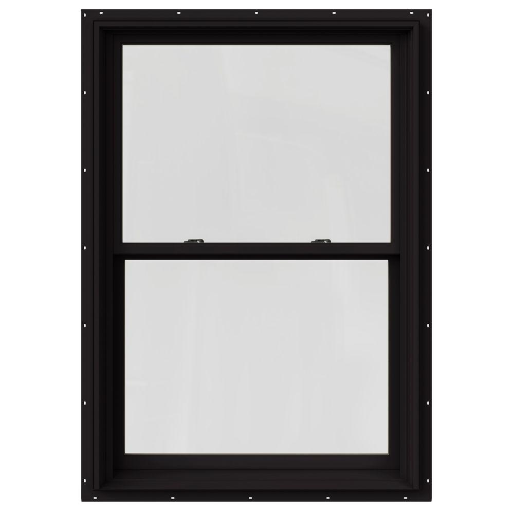 JELD-WEN 37.375 in. x 60 in. W-2500 Series Black Painted Clad Wood Double Hung Window w/ Natural Interior and Screen