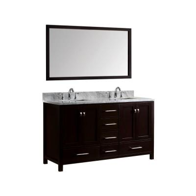 Caroline Avenue 60 in. W Bath Vanity in Espresso with Marble Vanity Top in White with Square Basin and Mirror