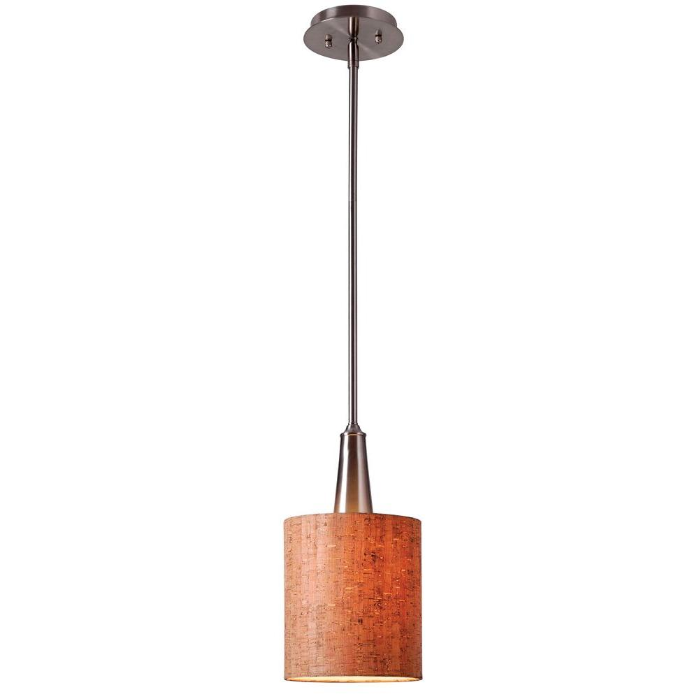 null Bulletin 1-Light Brushed Steel Ceiling Mini Pendant with Cork Shade