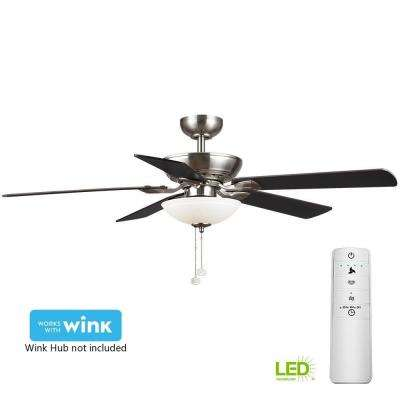 Connor 52 in. LED Brushed Nickel Smart Ceiling Fan with Light Kit and WINK Remote Control