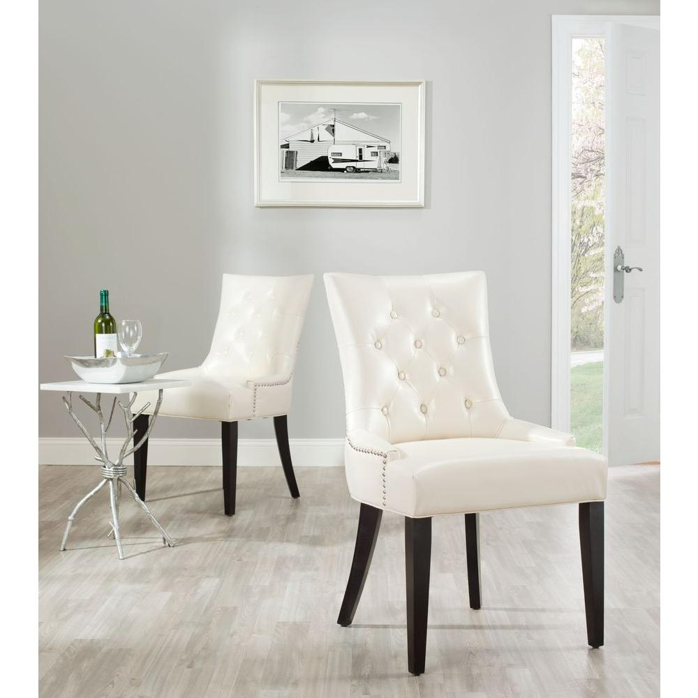 Safavieh Abby Flat Cream Bicast Leather Side Chair (Set of 2)