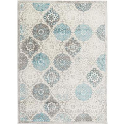 Boho Gray/Blue 5 ft. x 7 ft. Indoor Area Rug