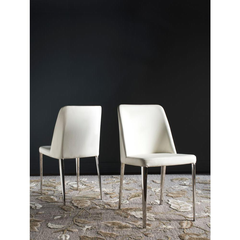 Safavieh Baltic White Bicast Leather Dining Chair Set Of