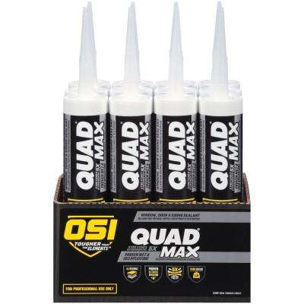 QUAD Max 9.5 fl. oz. Grey #595 Window, Door, Siding Sealant (12-Pack)