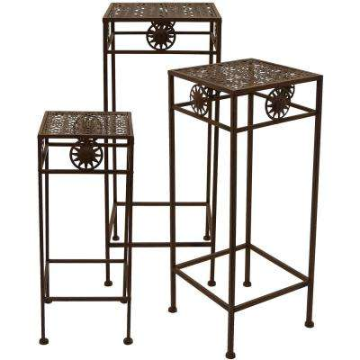 Rust Square Plant Stand (Set of 3)