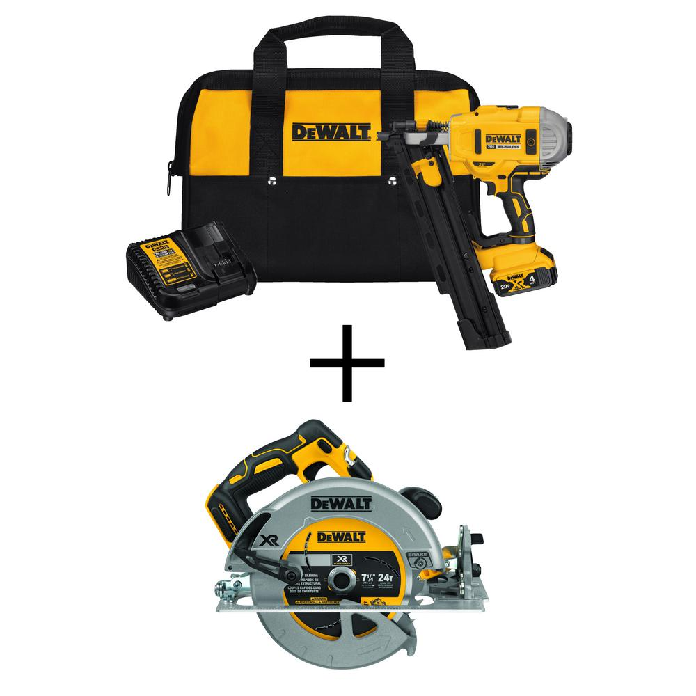 DEWALT 20-Volt MAX Lithium-Ion 21-Degree Cordless Framing Nailer with Bonus Brushless 7-1/4 in. Circular Saw (Tool-Only)