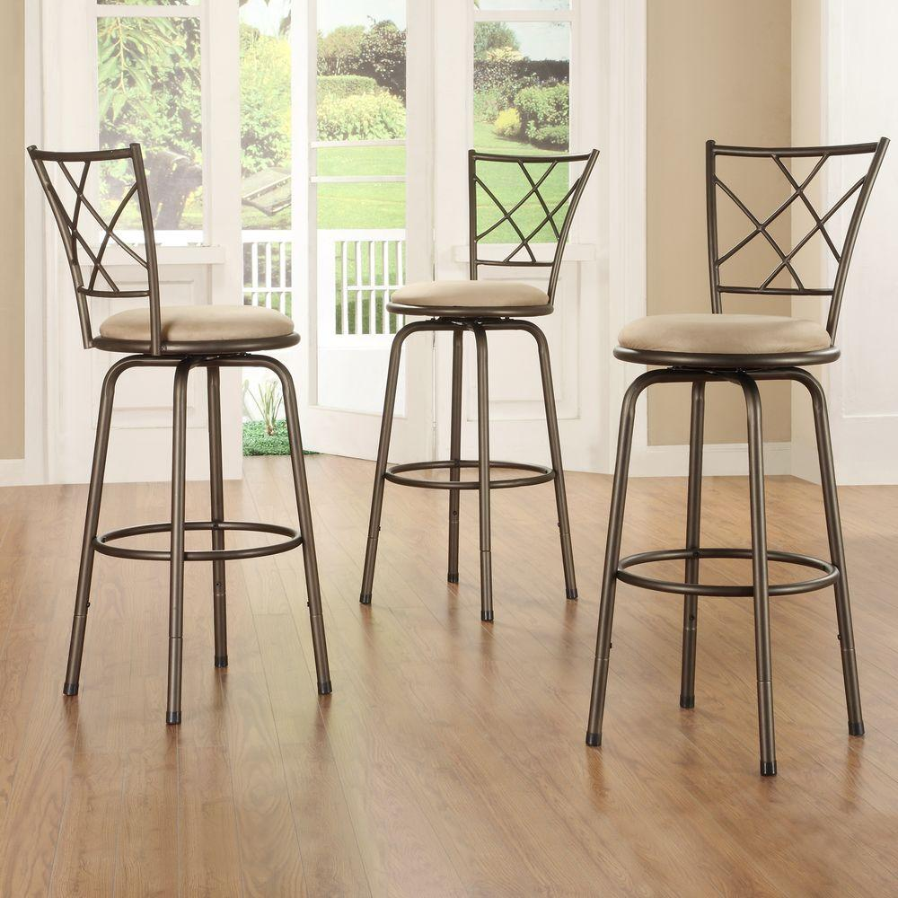 Adjustable Height Brown Swivel Cushioned Bar Stool Set Of