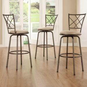Adjustable Height Brown Swivel Cushioned Bar Stool (Set of 3) by