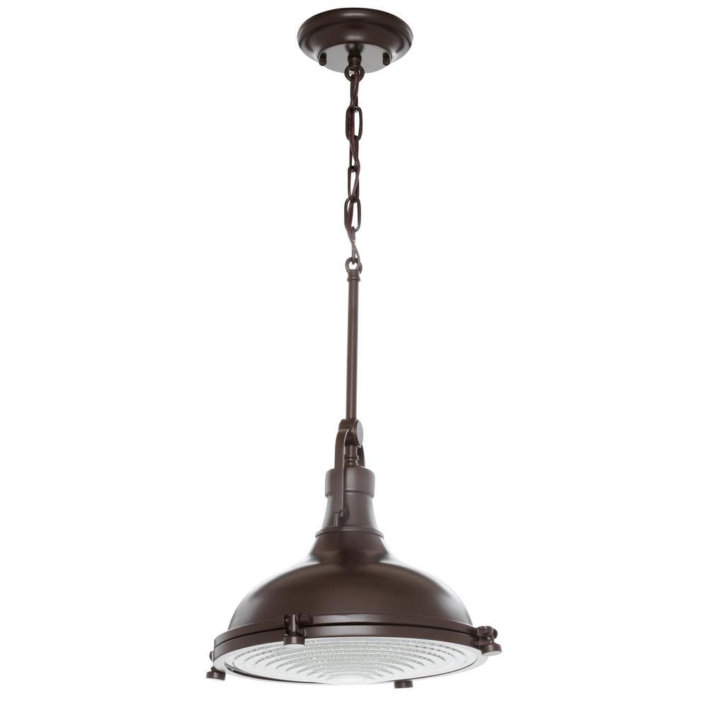 Progress Lighting Fresnel Collection 1 Light Oil Rubbed Bronze Pendant With Lens