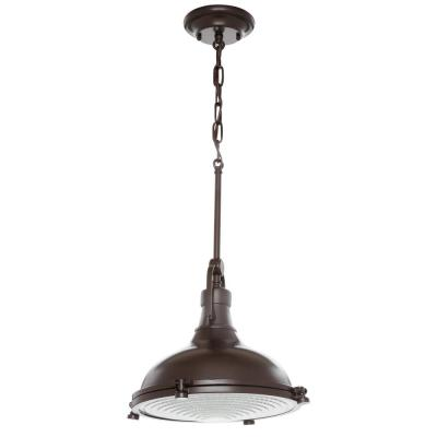 Fresnel Collection 1-Light Oil Rubbed Bronze Pendant with Fresnel Lens
