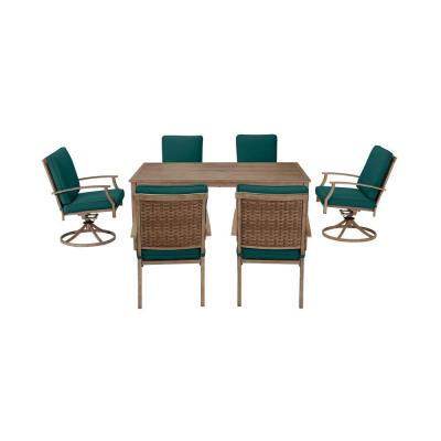 Geneva Brown Wicker Outdoor Patio Stationary Dining Chair with CushionGuard Malachite Green Cushions (2-Pack)