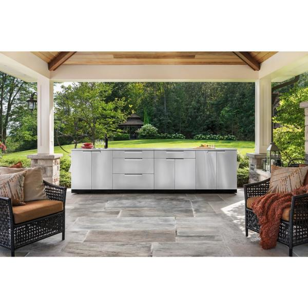 Newage Products Stainless Steel 3 Piece 97 In W X 35 5 In H X 24 In D Outdoor Kitchen Cabinet Set 66790 The Home Depot