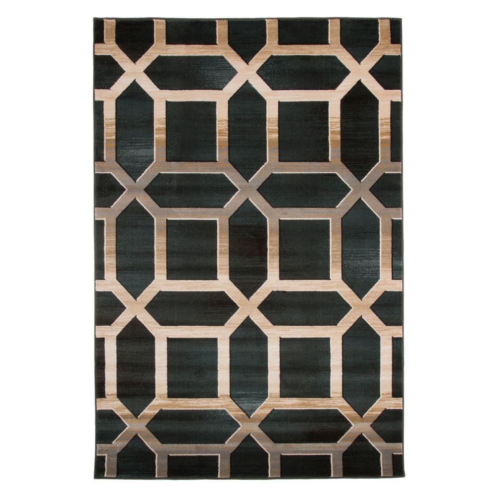 Well known Lavish Home Opus Art Deco Teal 5 ft. x 8 ft. Area Rug-62-30-DG  UV94