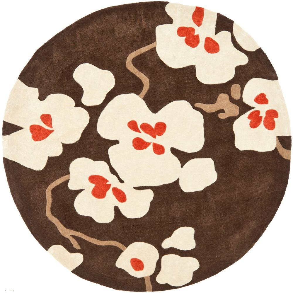 Safavieh Modern Art Brown/Ivory 7 ft. x 7 ft. Round Area Rug