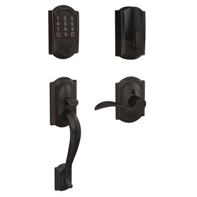 Camelot Encode Smart Wifi Door Lock with Alarm and Accent Lever Handleset in Aged Bronze