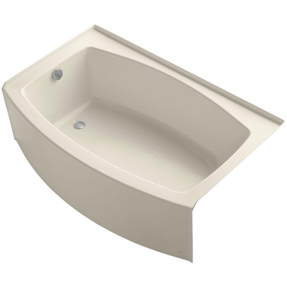 Kohler expanse 5 ft acrylic left hand drain curved for Best acrylic bathtub to buy