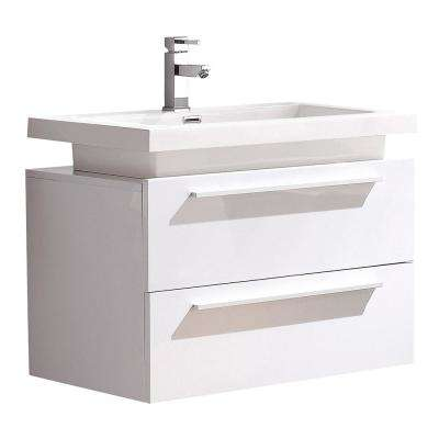 Medio 32 in. Bath Vanity in White with Acrylic Vanity Top in White with White Basin