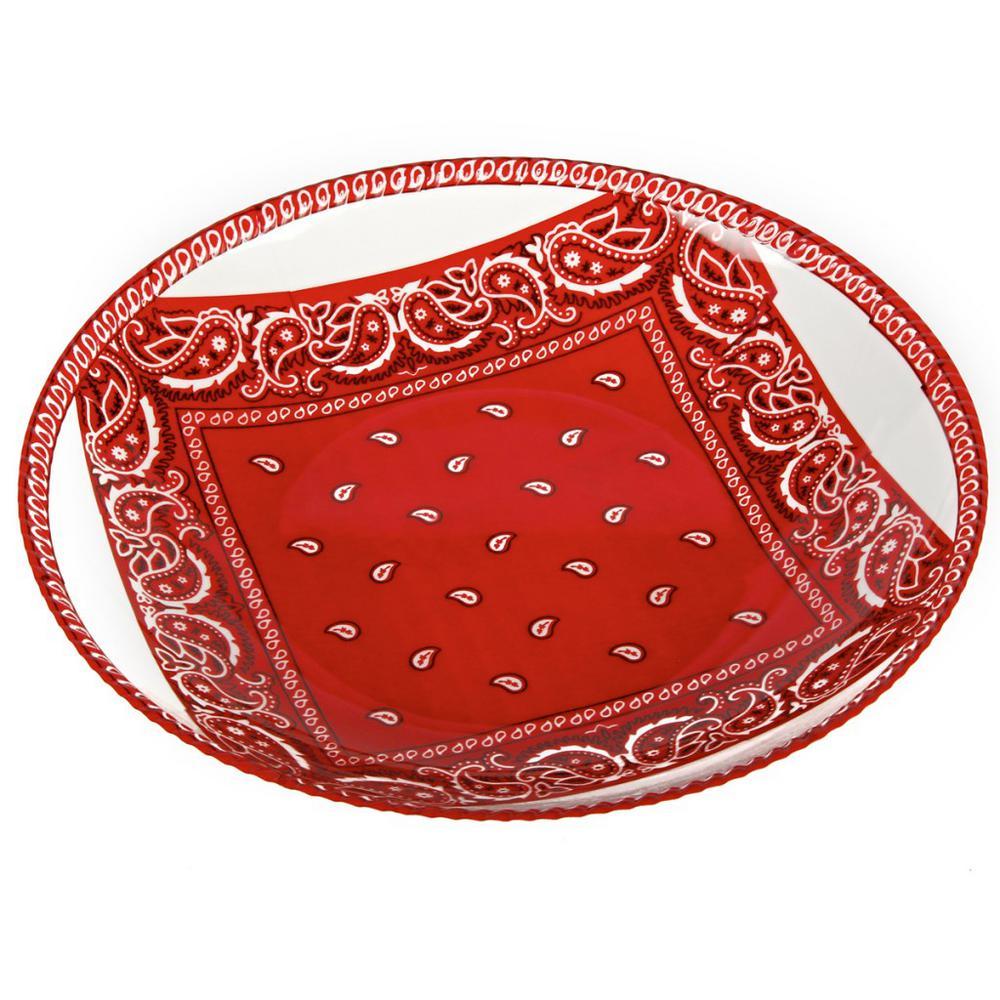 Bandana Red/White Melamine Shallow Bowl