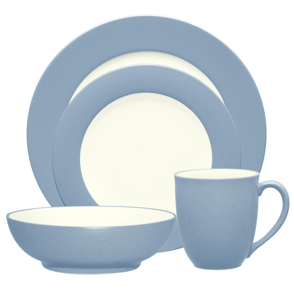 Colorwave Rim 4-Piece Casual Ice Stoneware Dinnerware Set (Service for 1)