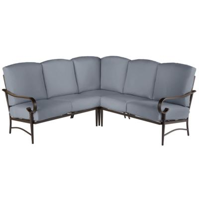 Oak Cliff Brown 3-Piece Steel Outdoor Patio Sectional Sofa with CushionGuard Steel Blue Cushions