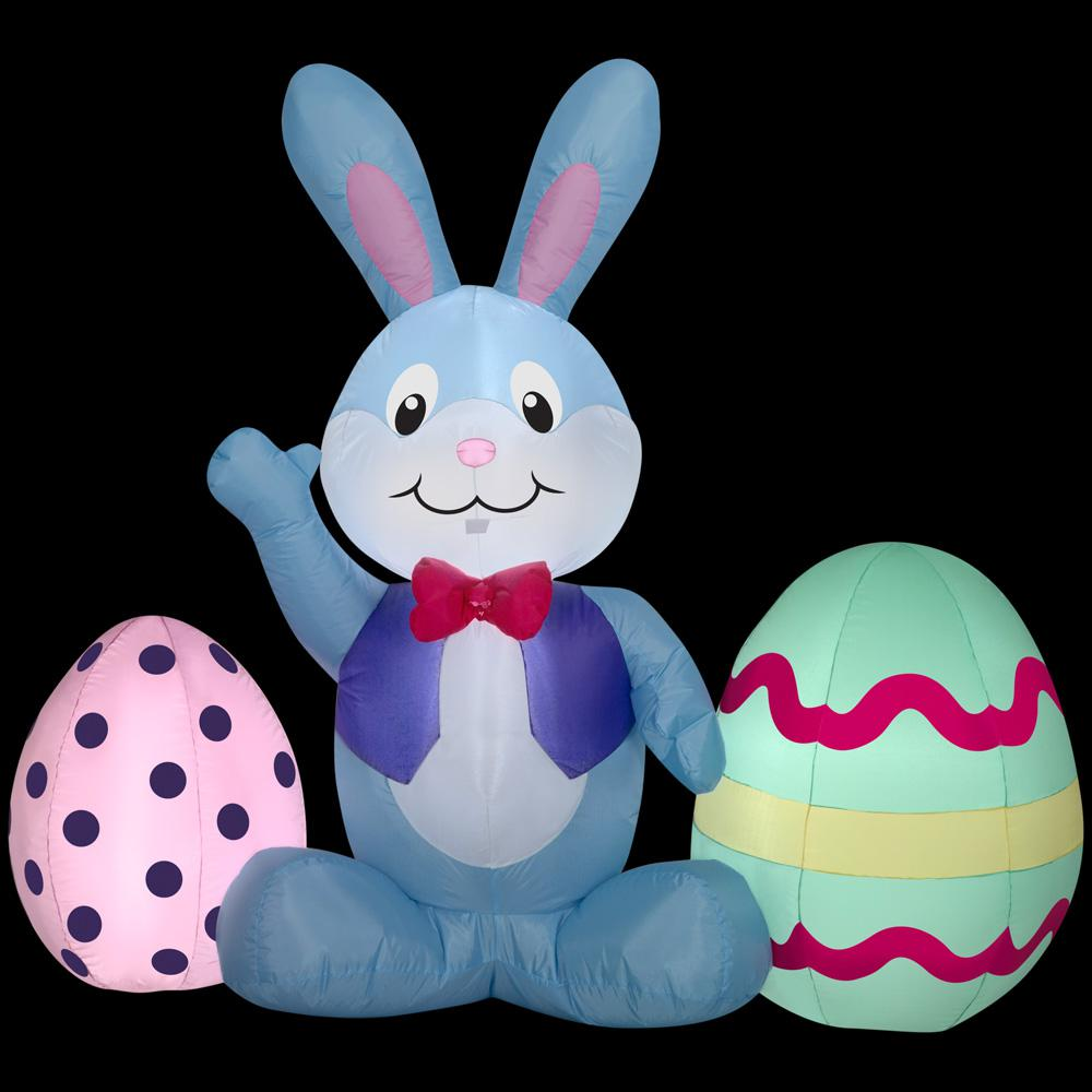 Home Accents In W X In D X In H Inflatable Bunny And Eggs Scene Airblown