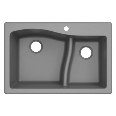 Quarza Drop-in/Undermount Granite Composite 33 in. 1-Hole 60/40 Double Bowl Kitchen Sink in Grey