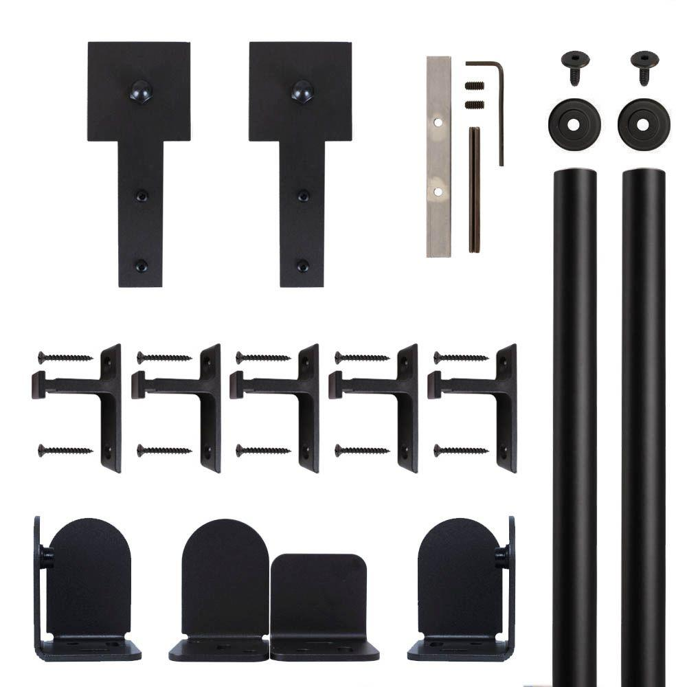 Cube Stick Black Rolling Door Hardware Kit for 1-1/2 in. to