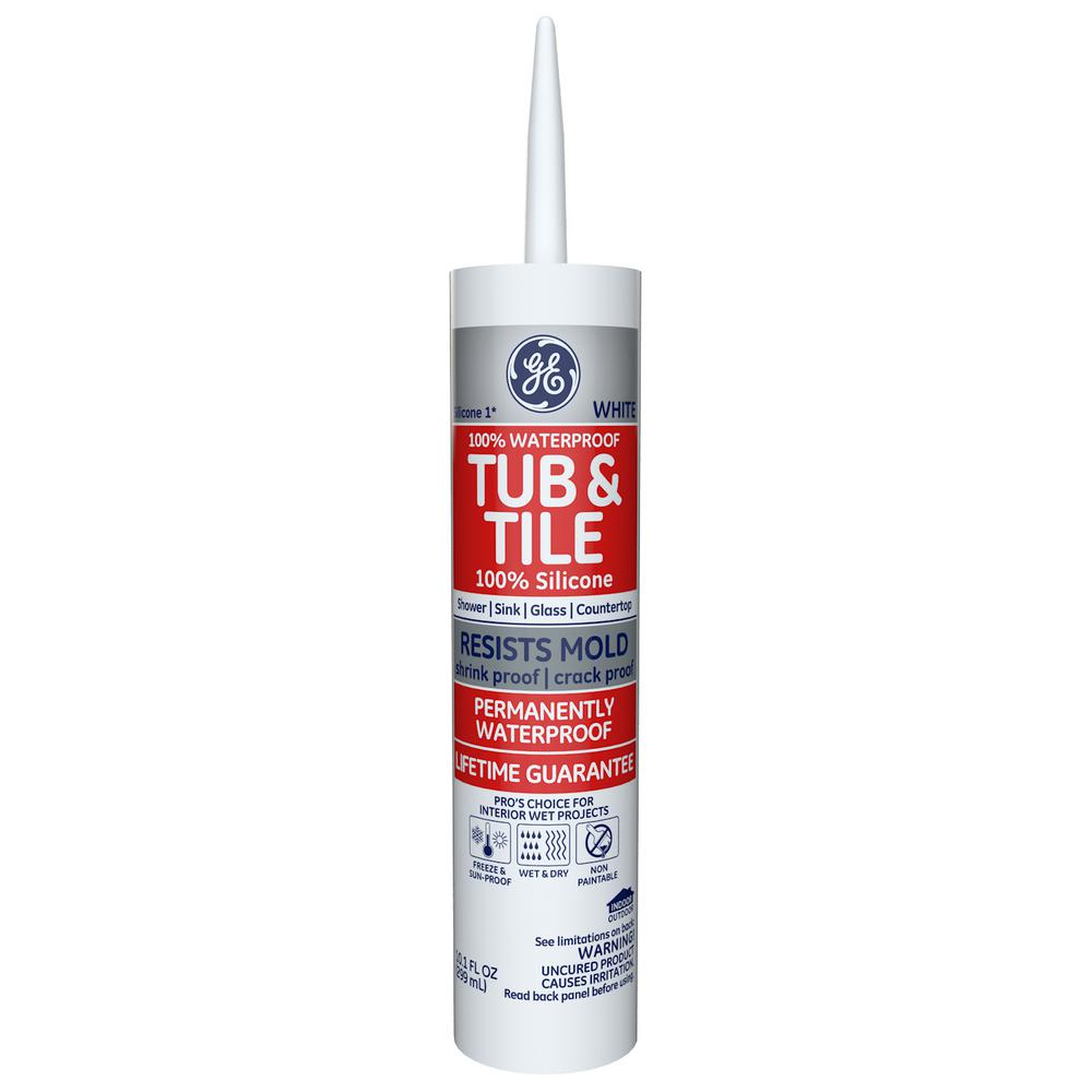 GE Tub and Tile Silicone I 10.1 oz. White Kitchen and Bath Caulk ...