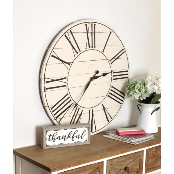 Reclaimed American Farmhouse Off White Over sized Wall Clock